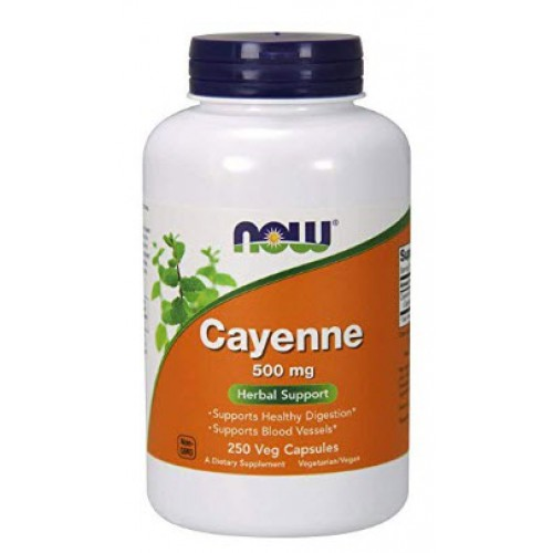 สารสกัดพริก NOW Supplements, Cayenne 500 mg, 250 Capsules by NOW Foods