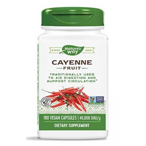 สารสกัดพริก Nature's Way Cayenne 40,000 SHU Potency, 180 Vegetarian Capsules  by Nature's Way