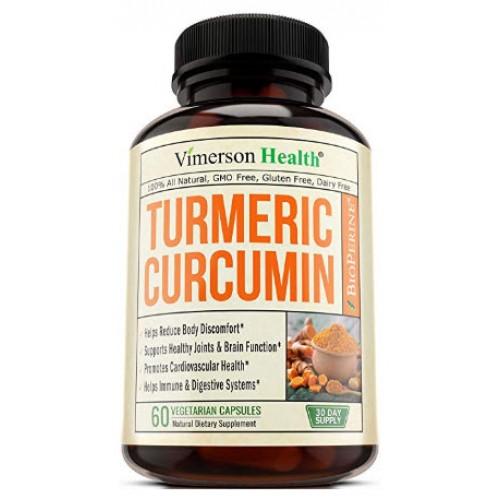 อาหารเสริมขมิ้นชัน Turmeric Curcumin with Bioperine Joint 60 Capsules Pain Relief by Vimerson Health