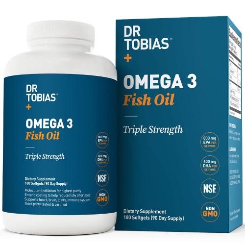 อาหารเสริม น้ำมันปลา Omega 3 Fish Oil Pills (180 Counts) - Triple Strength Fish Oil Supplementby Dr. Tobias