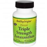 ขายอาหารเสริม แอสต้าแซนทิน Healthy Origins, Natural Triple Strength Astaxanthin, 12 mg, 60 Softgels