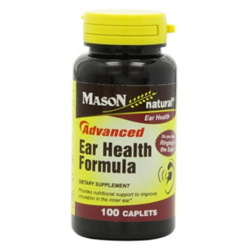 จำหน่าย อาหารเสริมประสาทหูยี่ห้อ Mason Vitamins New Advance Ear Health Formula Caplets, 100-Count Bottle