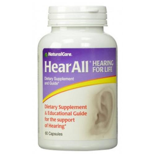 อาหารเสริมประสาทหูยี่ห้อ NaturalCare HearAll, Supports Optimal Hearing Function, 60 Capsules