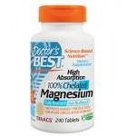 แมกนีเซียม ยี่ห้อ Doctor's Best High Absorption Magnesium Dietary Supplement, 200 mg per 2 tablets, 240 Tablets