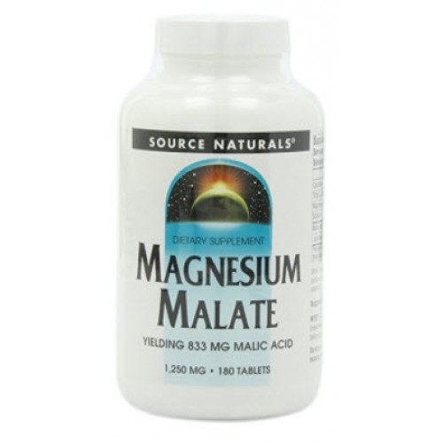 แมกนีเซียม Source Naturals Magnesium Malate 1250mg, 180 Tablets