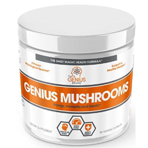 อาหารเสริม เห็ด ยี่ห้อGenius Mushroom – Lions Mane, Cordyceps and Reishi by The Genius Brand