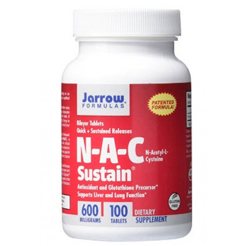 ผลิตภัณฑ์บำรุงผิว Jarrow Formulas N-A-C Sustain, Supports Liver and Lung Function, 600 mg, 100 Sustain tabs