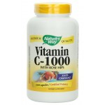 วิตามินซี Nature's Way Vitamin C 1000 with Rose Hips, 250 Capsules