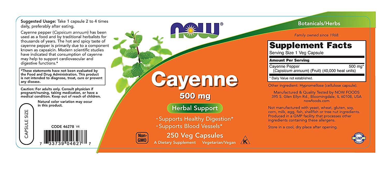 ฉลาก NOW Supplements, Cayenne 500 mg, 250 Capsules by NOW Foods