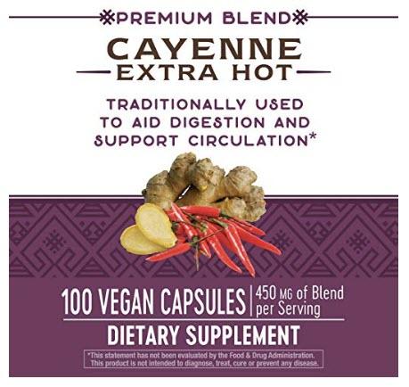 สารสกัดพริก Nature's Way Cayenne Extra Hot 100, 000 HU Potency, 100 Vcaps by Nature's Way
