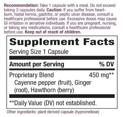ฉลาก สารสกัดพริก Nature's Way Cayenne Extra Hot 100, 000 HU Potency, 100 Vcaps by Nature's Way