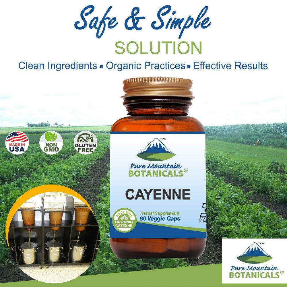 สารสกัดพริก Cayenne Pepper Capsules - 90 Kosher Vegan Caps by Pure Mountain Botanicals