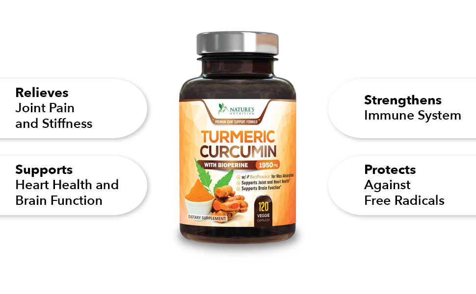 Turmeric Curcumin 120 Capsules by Nature's Nutrition supplement facts  Turmeric Curcumin 120 Capsules by Nature's Nutrition support joint and hearth health Turmeric Curcumin 120 Capsules by Nature's Nutrition support joint and hearth health, brain function, antioxidants, anti-inflammatory Turmeric Curcumin 120 Capsules by Nature's Nutrition Turmeric Curcumin 120 Capsules by Nature's Nutrition Relieves Join Paint and Stiffness, Support Heart Health and Brain Function, Strengthens Immune System, Protects Against Free Radicals