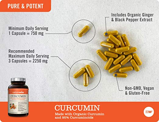 NatureWise Organic Curcumin Turmeric 180 Capsules by NatureWise Pure & Potent