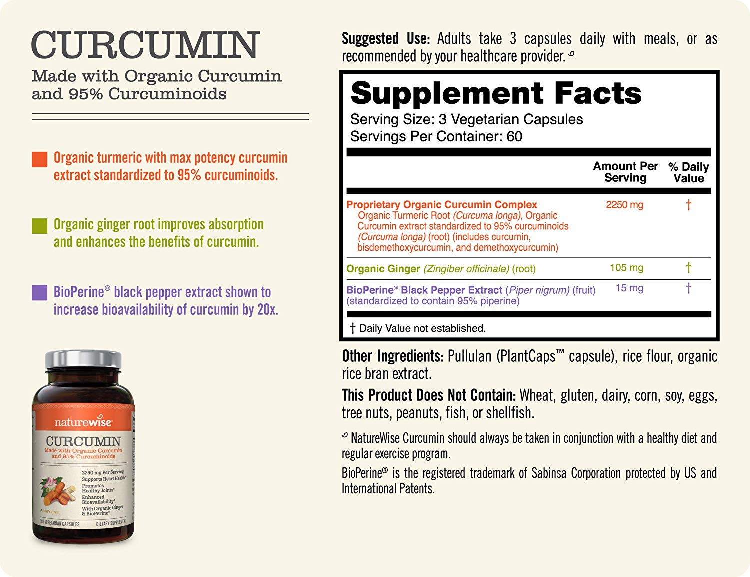 NatureWise Organic Curcumin Turmeric 180 Capsules by NatureWise Supplement Facts