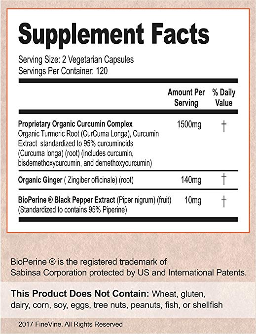 Turmeric Curcumin 120 Capsules by FineVine Supplement Facts