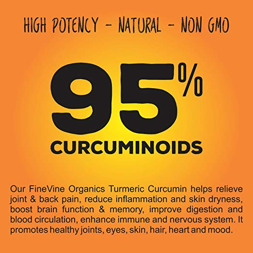 Turmeric Curcumin 120 Capsules by FineVine Supplement Facts 100% organic non-gmo, Gluten Free, Sugar-Free, Allergen Free, Contains No fillers Binders, No Soy, Diary, No Egg, No Shellfish or Peanut