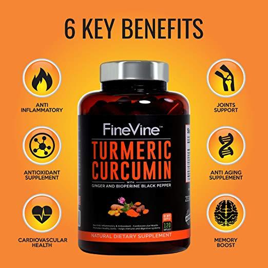 Turmeric Curcumin 120 Capsules by FineVine 6 Key Benefits