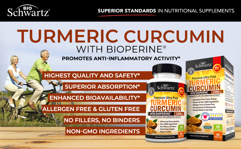ขมิ้นชัน Turmeric Curcumin with Bioperine 1500mg. Highest Potency Available. Premium Pain Relief & Joint Support with 95% Standardized Curcuminoids. Non-GMO, Gluten Free Turmeric Capsules with Black Pepper by BioSchwartz