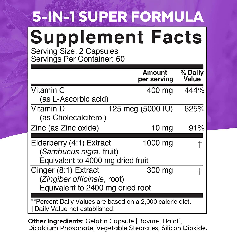 Elderberry, Vitamin C, Zinc, Vitamin D 5000 IU & Ginger by Viva Naturals
