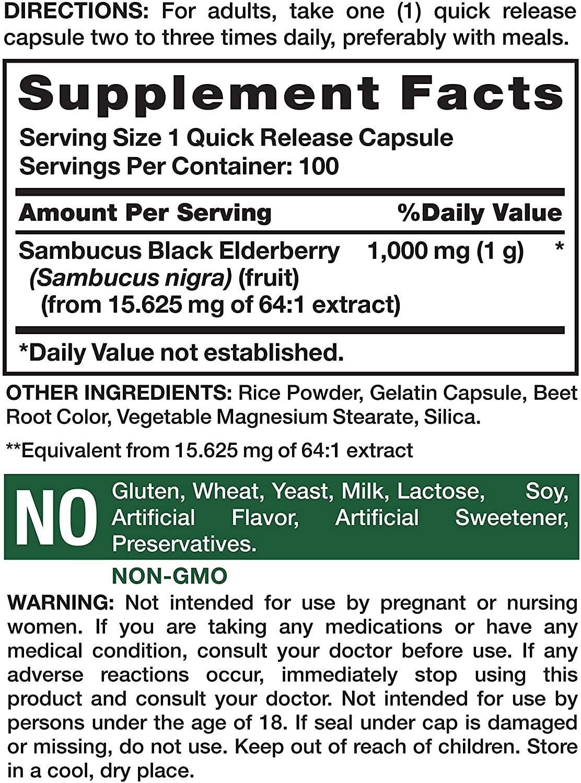 Nature's Truth Sambucus Black Elderberry 100 Capsules