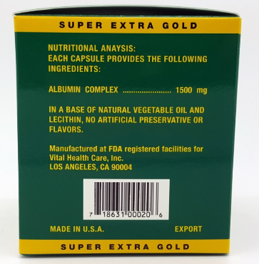 Vital Super Albumin Extra Strength Pure Natural 1,500mg 200 capsules