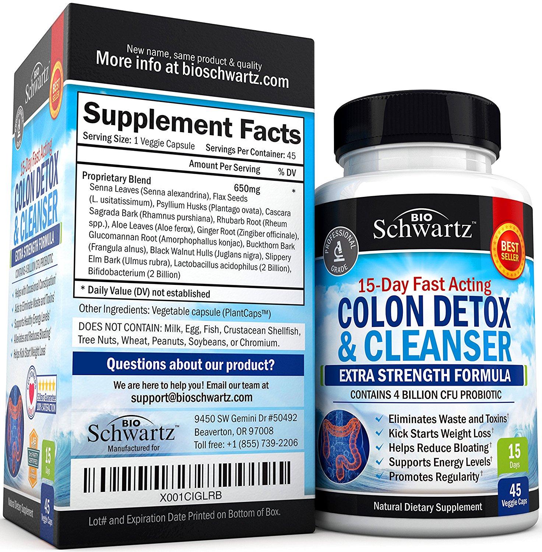 อาหารเสริมดีท็อกยี่ห้อที่ขายดีเป็นอันดับที่ 3 ของอเมริกาอาหารเสริม ดีท็อกยี่ห้อColon Cleanser & Detox for Weight Loss BioSchwartz