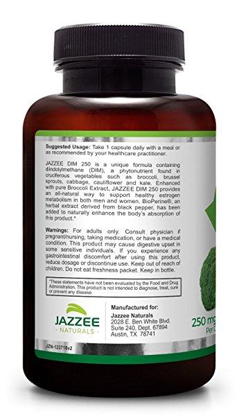 DIM ยี่ห้อที่ขายดีเป็นอันดับที่ 5 ของอเมริกา DIM 250 mg per Capsule BY Jazzee Naturals