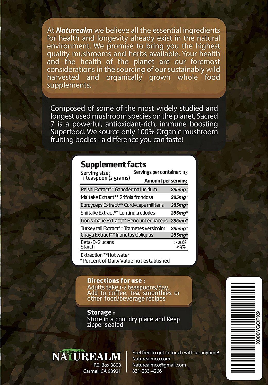 อาหารเสริม เห็ด ยี่ห้อที่ขายดีเป็นอันดับที่ 4 ของอเมริกา ขาย อาหารเสริม เห็ด Sacred 7 Organic Mushroom Extract Powder