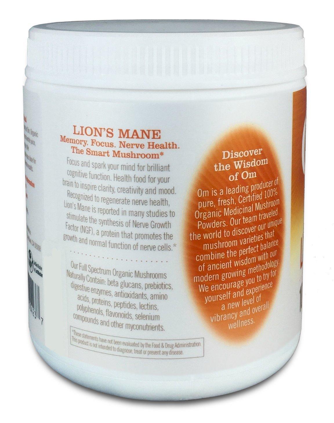 อาหารเสริม เห็ด ยี่ห้อที่ขายดีเป็นอันดับที่ 2 ของอเมริกา อาหารเสริม เห็ด ยี่ห้อ Om Organic Mushroom Nutrition Lion's Mane