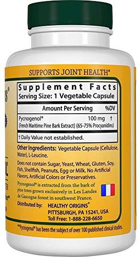 สารสกัดเปลือกสน ยี่ห้อHealthy Origins Pycnogenol (Nature's Super Antioxidant) 100 mg, 120 Veggie Caps