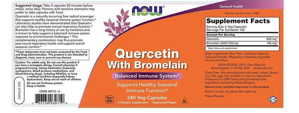เควอซิทินยี่ห้อที่ขายดีเป็นอันดับที่ 1 ของอเมริกาเควอซิทินNOW Quercetin with Bromelain,240 Veg Capsules