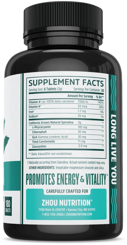สไปรูลิน่า ยี่ห้อที่ขายดีเป็นอันดับที่ 2 ของอเมริกาสไปรูลิน่า ยี่ห้อZhou Nutrition Non-GMO Spirulina Tablets