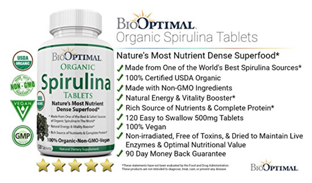 BioOptimal Spirulina Tablets